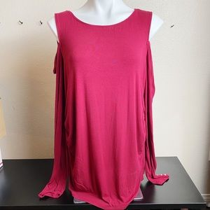 WHBM Red Long sleeve ruched shirt